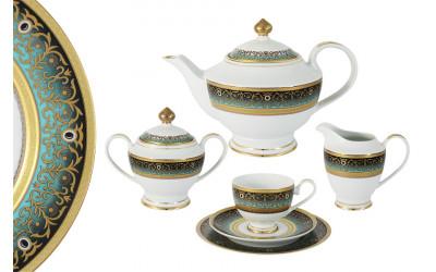 Чайный сервиз 23 предмета на 6 персон Принц (бирюза)
