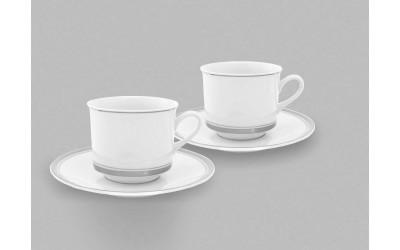 Набор из двух чайных пар  0,20л 02140415-0011 Отводка платина, Leander