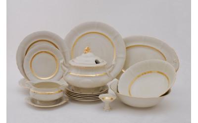 Сервиз столовый 25предм. 07562011-1239 Соната Золотая лента, слоновая кость, Leander