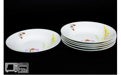 Набор тарелок 6 шт. 23см (суп) Дейзи Бабочки, костяной фарфор