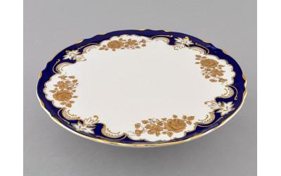 Тарелка для торта на ножке 26см 07116034-1457 Соната Кобальтовый орнамент, золотая роза, Leander