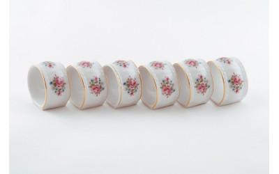 Набор колец для салфеток 6предм. 07164612-0013 Соната Розовые цветы, отводка золото, Leander