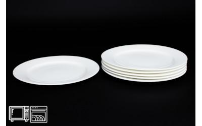 Набор тарелок 6 шт. 25 см Белый, костяной фарфор