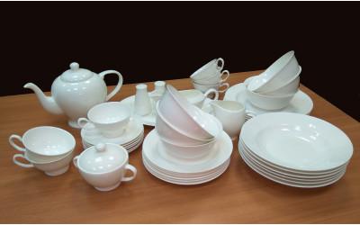 Чайно-столовый сервиз на 6 персон 45 предметов Белый, Rulanda, костяной фарфор